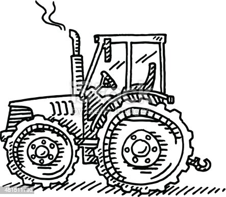 Tractor Agriculture Machine Drawing Stock Vector Art