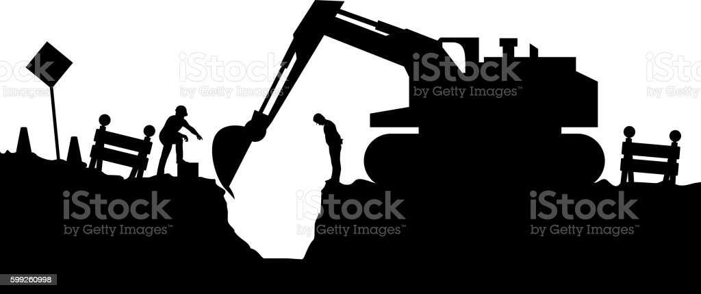 tractor and builders silhouette vector art illustration