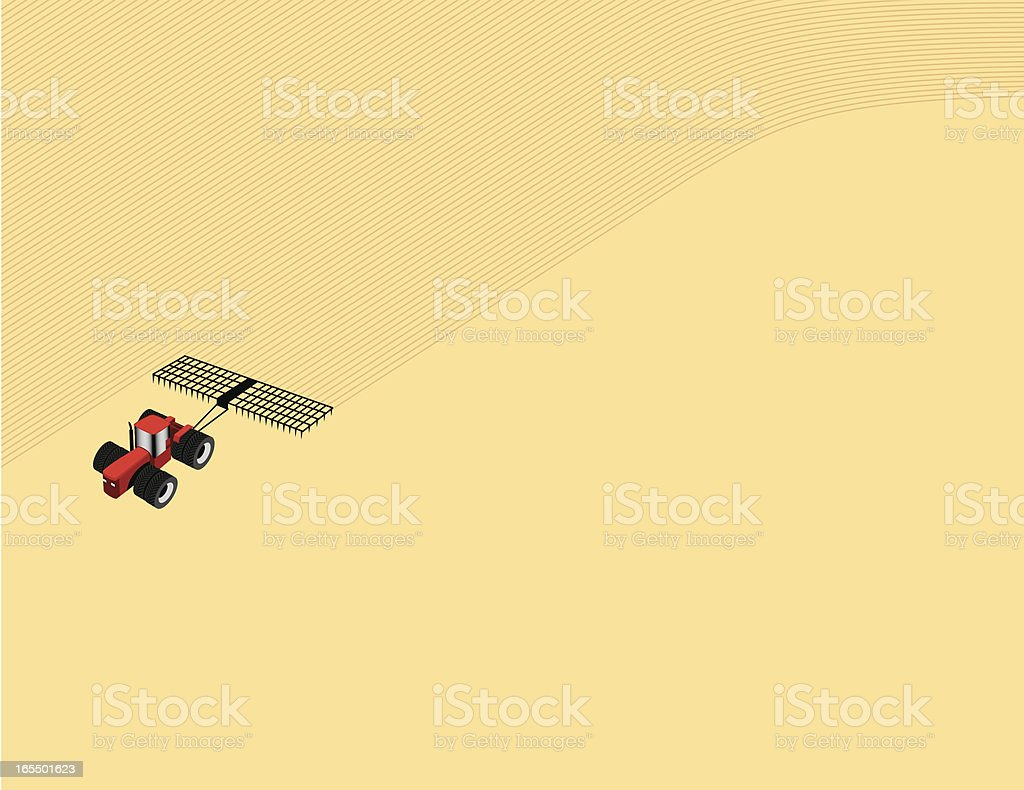 Tractor and field background royalty-free stock vector art