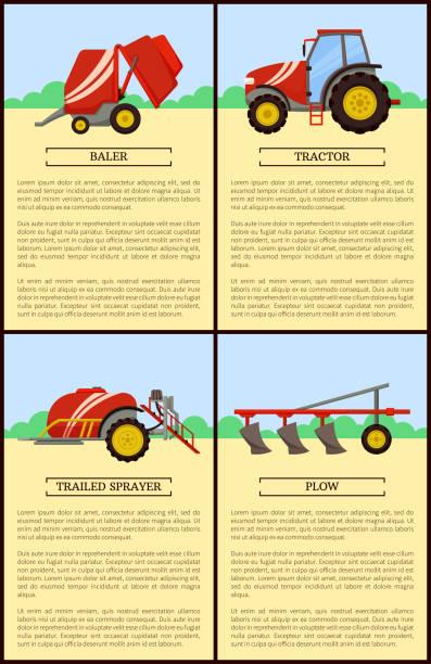 bildbanksillustrationer, clip art samt tecknat material och ikoner med traktor och bogserad spruta vektor illustration - balpress