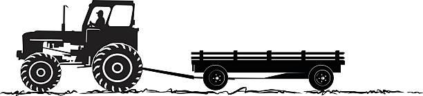 bildbanksillustrationer, clip art samt tecknat material och ikoner med tractor and wagon silhoeutte - traktor pulling