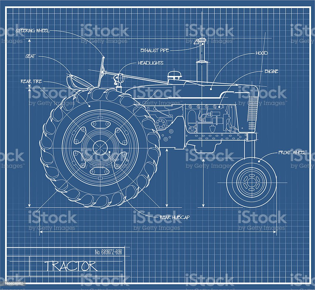 Tractor Blueprint royalty-free tractor blueprint stock vector art & more images of agricultural machinery