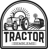 tractor emblem. Farmers market. Design element for label, sign. Vector illustration