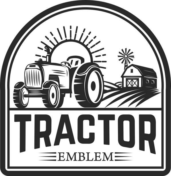 tractor emblem. Farmers market. Design element for label, sign. tractor emblem. Farmers market. Design element for label, sign. Vector illustration community borders stock illustrations