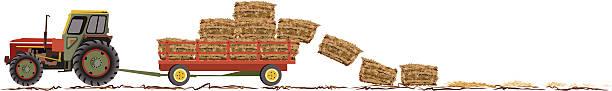 bildbanksillustrationer, clip art samt tecknat material och ikoner med tractor fall harvest horizontal border with wagon and hay - traktor pulling