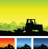 A tractor in silhouette on a farm. Three extra versions are provided to show differring seasons and times of day.