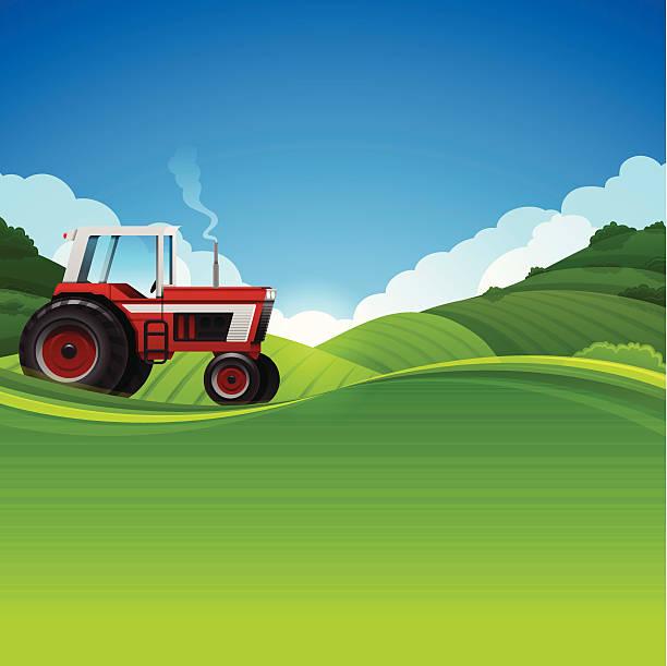 tractor farming background - corn field stock illustrations, clip art, cartoons, & icons