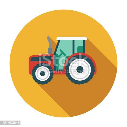 A flat design styled agriculture icon with a long side shadow. Color swatches are global so it's easy to edit and change the colors. File is built in the CMYK color space for optimal printing.