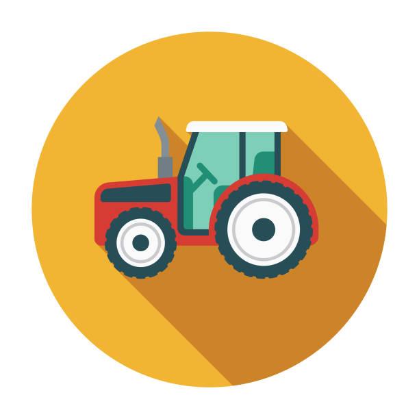 illustrazioni stock, clip art, cartoni animati e icone di tendenza di tractor flat design agriculture icon - trattore