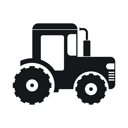 Tractor Icon Black Stock Illustration - Download Image Now