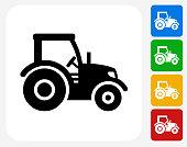 Tractor Icon Flat Graphic Design