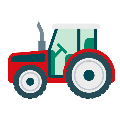 Tractor Icon on Transparent Background
