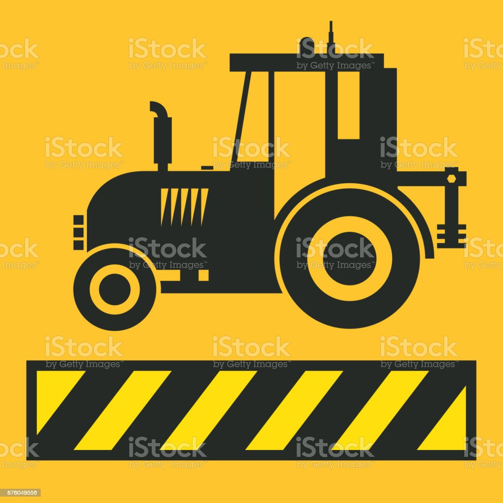 Tractor icon or sign vector art illustration