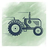 Vector tractor illustration over watercolor background.