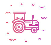 Tractor outline style icon design with decorations and gradient color. Line vector icon illustration for modern infographics, mobile designs and web banners.