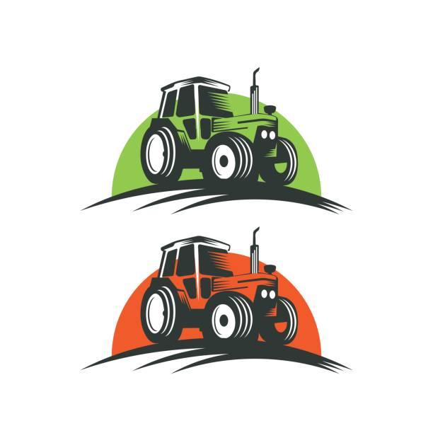 illustrazioni stock, clip art, cartoni animati e icone di tendenza di tractor logo - trattore