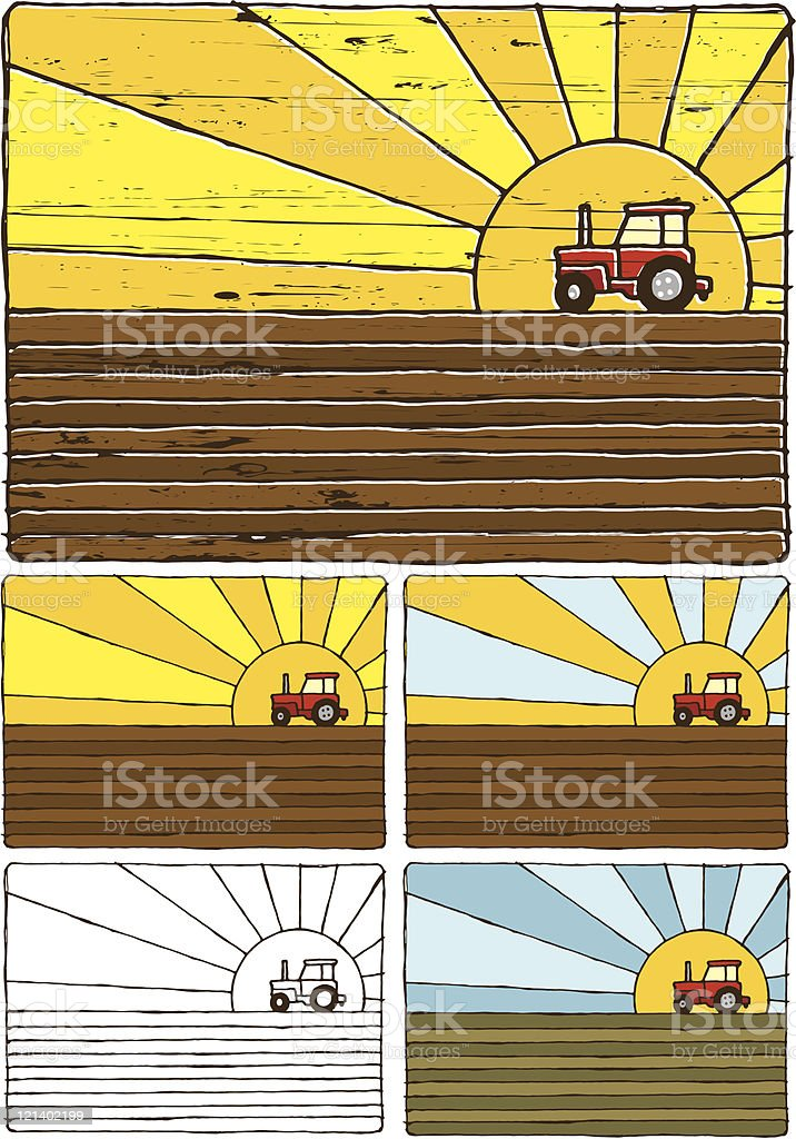 Tractor on a field royalty-free stock vector art