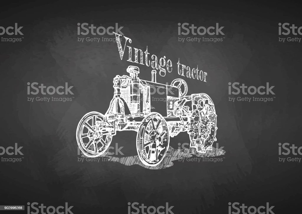 tractor on blackboard vector art illustration