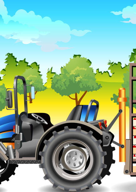 bildbanksillustrationer, clip art samt tecknat material och ikoner med tractor on field - traktor pulling