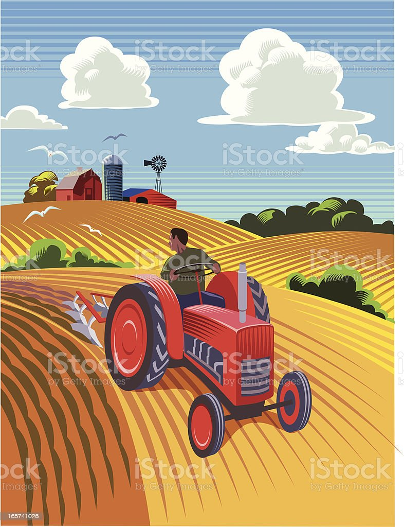 Tractor ploughing field vector art illustration