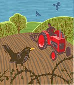 Landscape with old style tractor ploughing field in hand crafted woodcut style. EPS 10 file, CS5 version in zip.