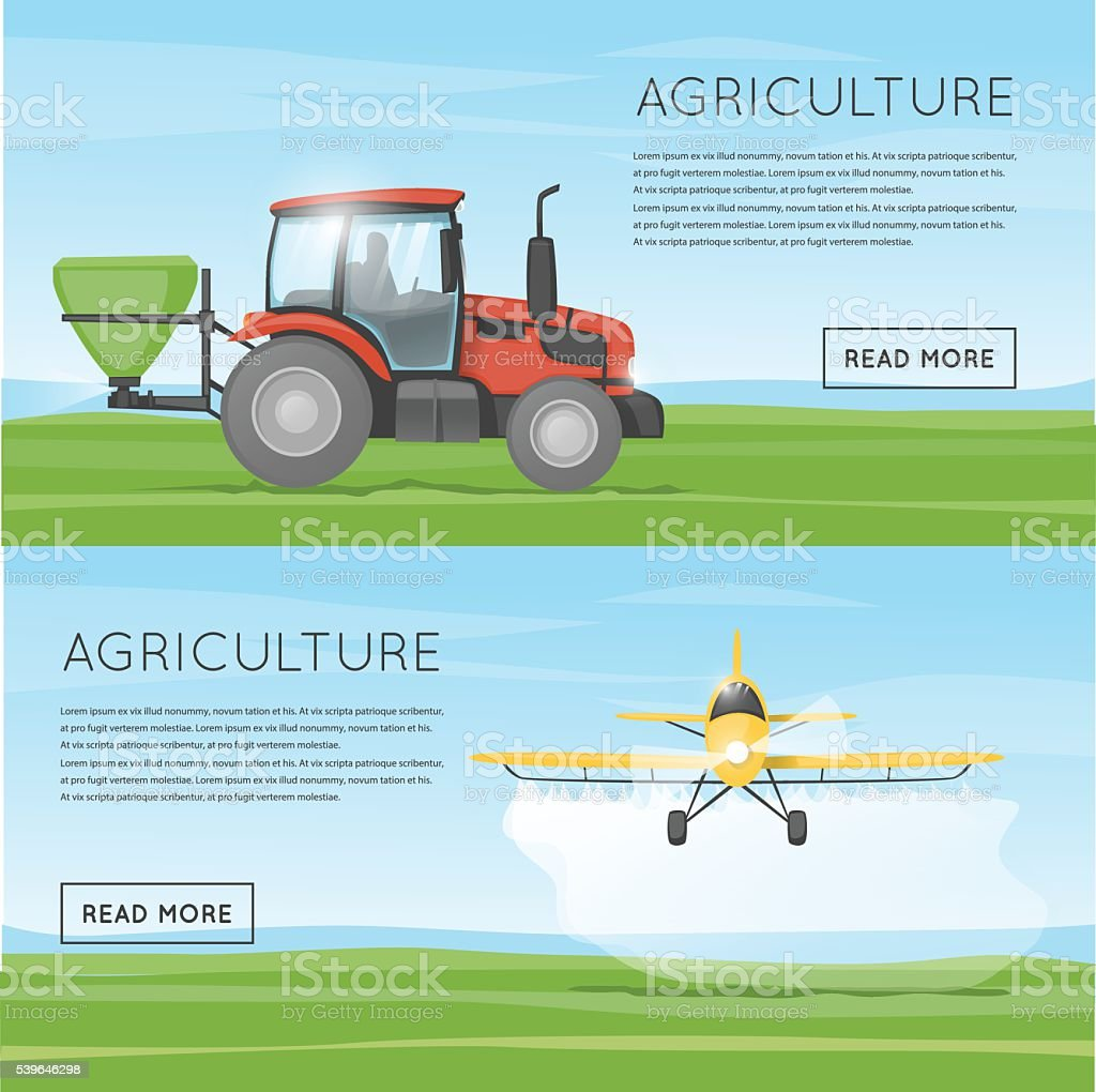 Tractor pours fertilizer. Flying yellow plane spraying agricultural chemicals pesticide.