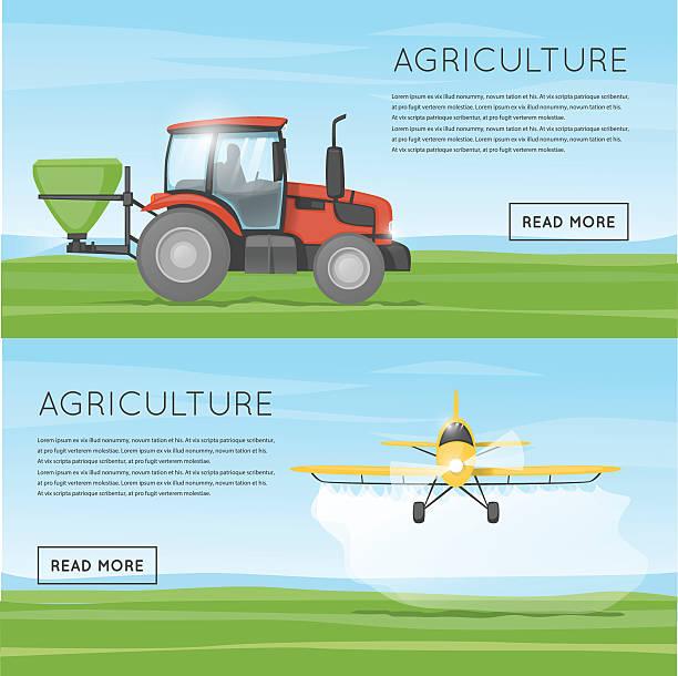 Traktor Tropfen Dünger. Fliegen gelbe Flugzeug sprühen Bereich Chemikalien pesticide. – Vektorgrafik