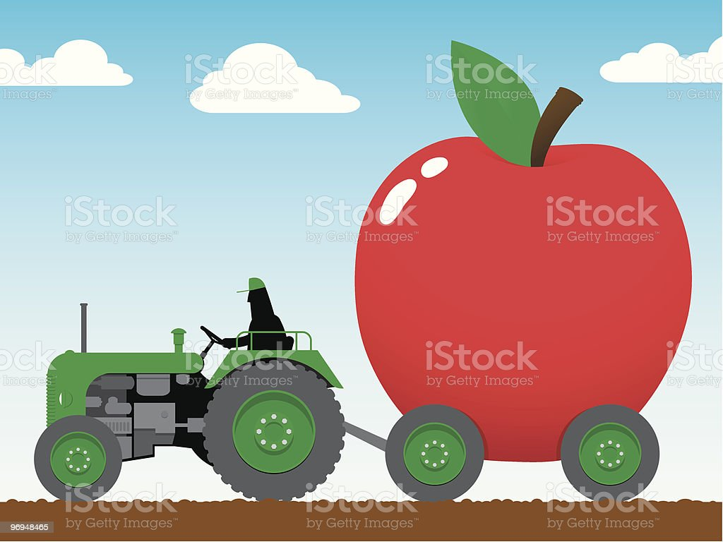Tractor pulling a huge apple royalty-free tractor pulling a huge apple stock vector art & more images of agricultural machinery