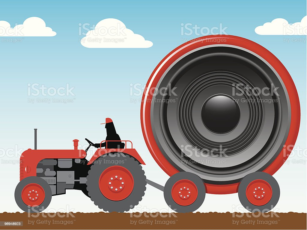 Tractor pulling a huge speaker royalty-free tractor pulling a huge speaker stock vector art & more images of agriculture