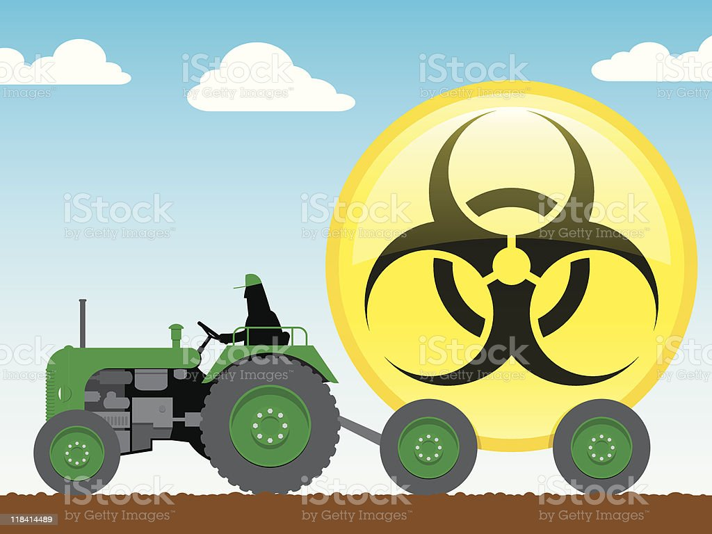 Tractor pulling glossy biohazard icon royalty-free stock vector art