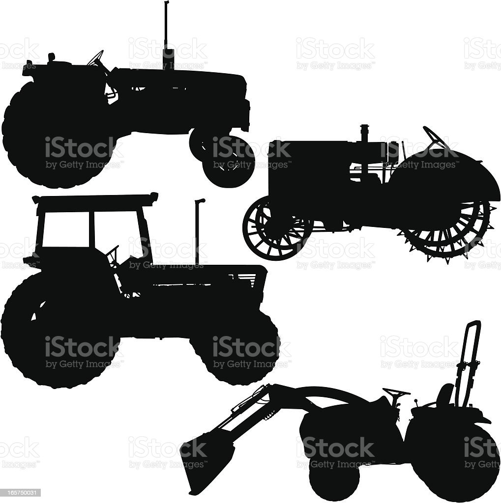 Tractor Silhouettes Modern and Antique vector art illustration