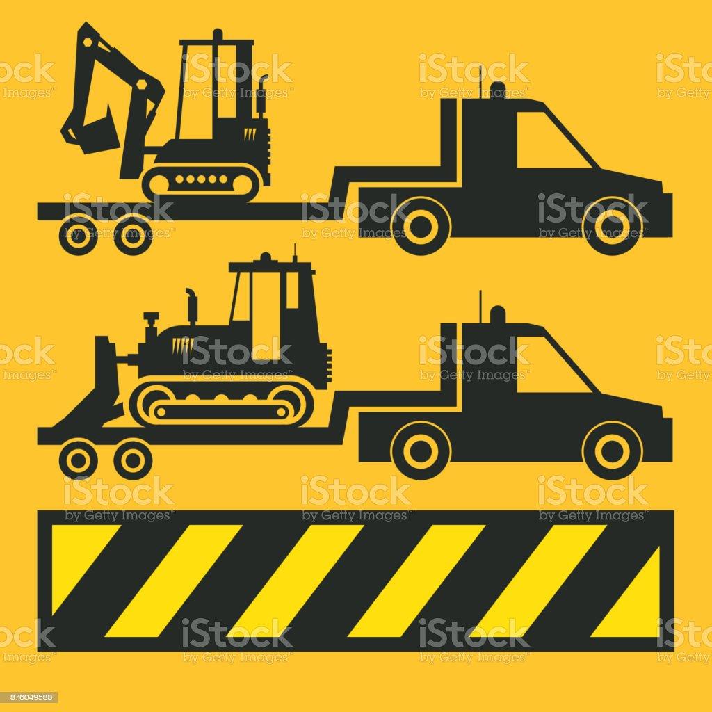 Tractor transportation icon or sign vector art illustration