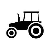 Tractor vector icon, pictogram, side view