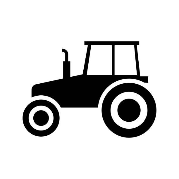 illustrazioni stock, clip art, cartoni animati e icone di tendenza di tractor vector icon, pictogram, side view - trattore