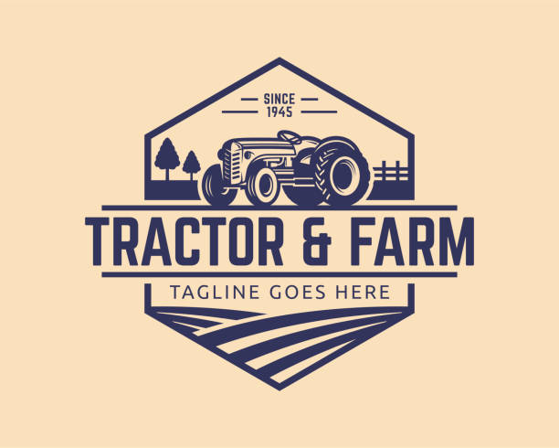 Tractor vector Illustration Tractor illustration or farm illustration, suitable for any business related to farm industries. Simple and retro look. harvesting stock illustrations