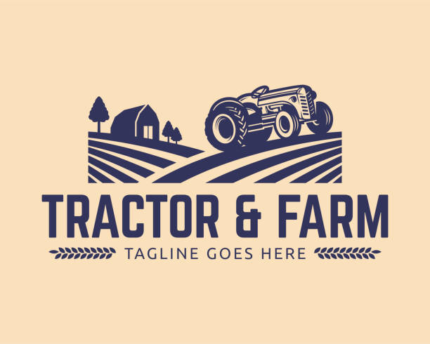 Tractor vector Illustration Tractor illustration or farm illustration, suitable for any business related to farm industries. Simple and retro look. organic farm stock illustrations