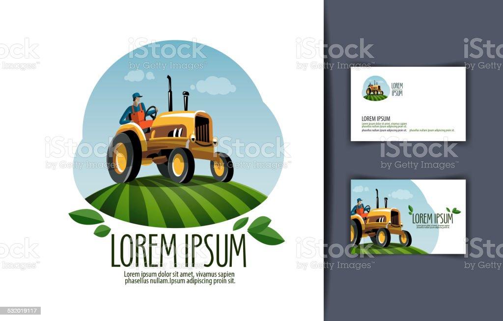 tractor vector logo design template harvest or farm icon stock