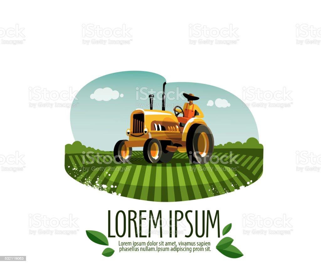 Trator vetor logotipo design template. harvest ou fazenda ícone. - ilustração de arte em vetor