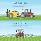 Tractor watering field. Agriculture. Agricultural vehicles. Harvesting, agriculture. Farm.