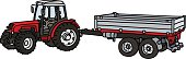 Hand drawing of a red tractor with the pole trailer - not a real model