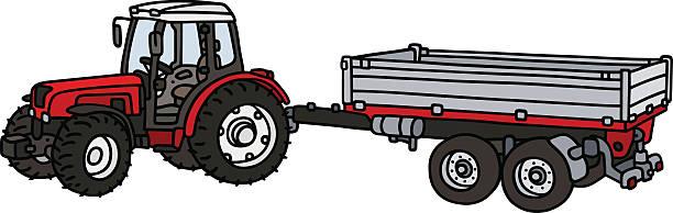 bildbanksillustrationer, clip art samt tecknat material och ikoner med tractor with a trailer - traktor pulling
