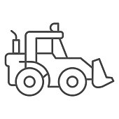 istock Tractor with bucket thin line icon, heavy equipment concept, Backhoe sign on white background, Backhoe loader tractor icon in outline style for mobile concept and web design. Vector graphics. 1283795998