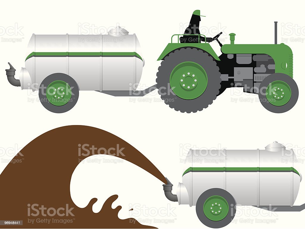 Tractor with liquid manure tanker royalty-free tractor with liquid manure tanker stock vector art & more images of agriculture