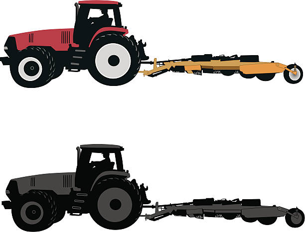 bildbanksillustrationer, clip art samt tecknat material och ikoner med tractor with mower - traktor pulling