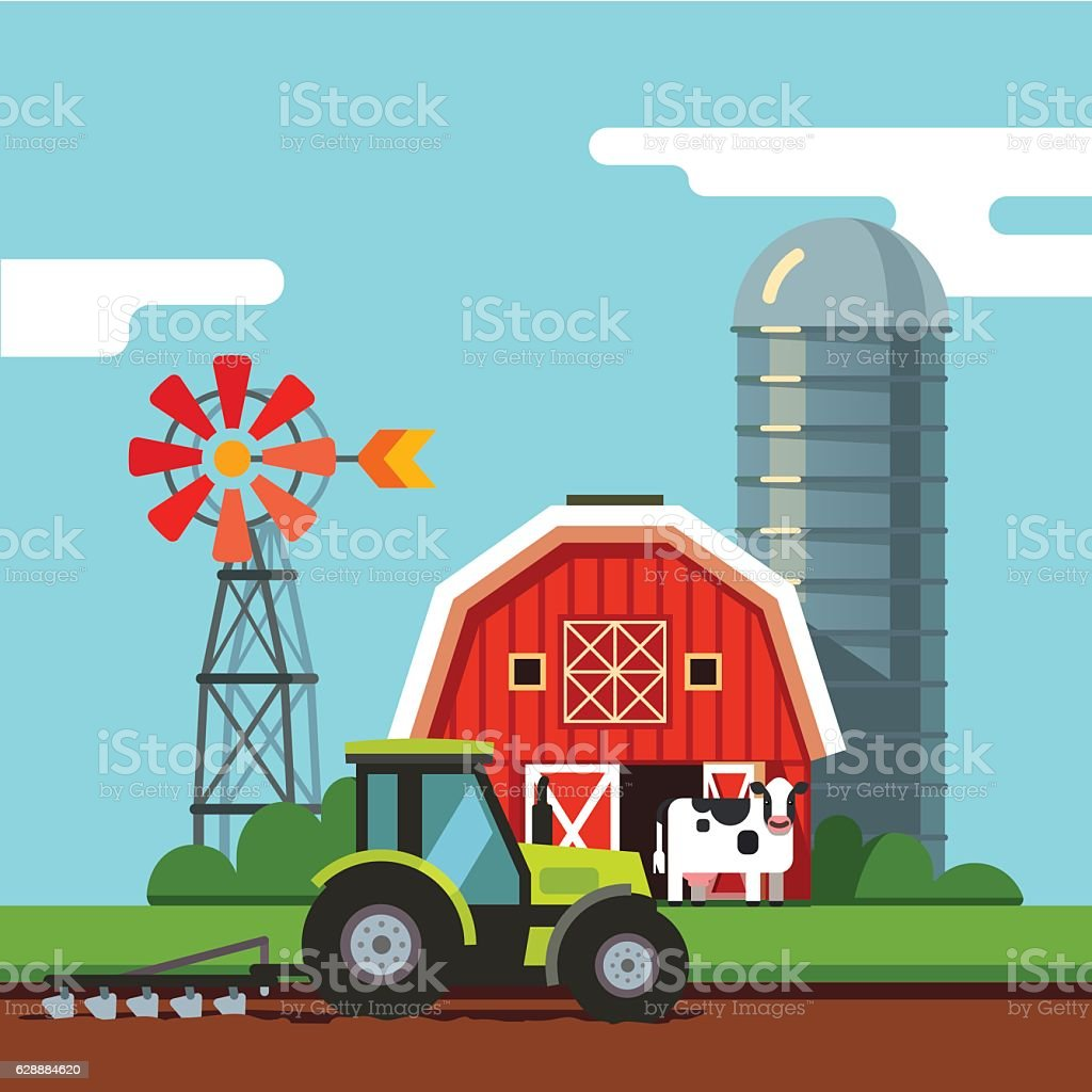 Tractor working on a arable field vector art illustration