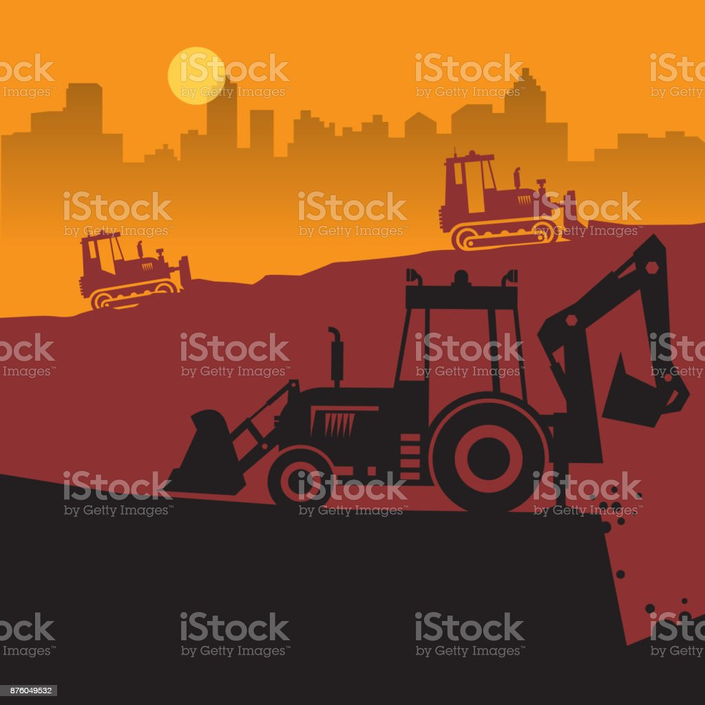Tractors on work at construction site vector art illustration