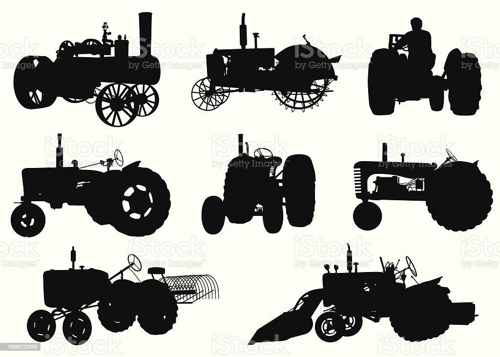 Tractors Vector Silhouette vector art illustration