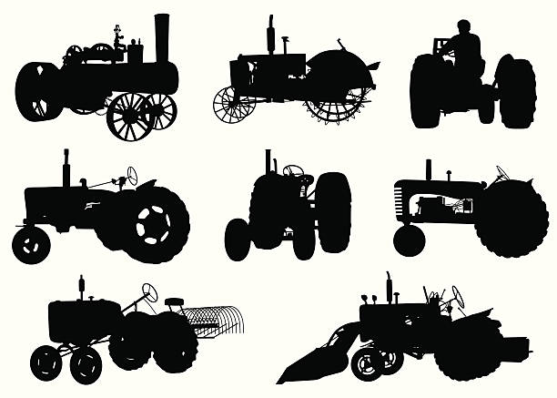 Royalty Free Antique Tractor Silhouette Clip Art, Vector ...
