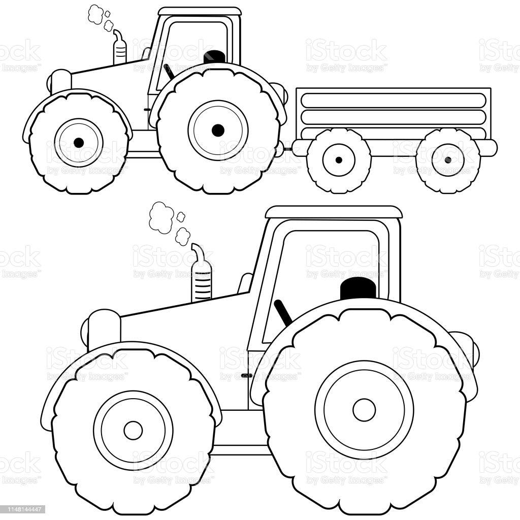 Traktoren Mit Trolley Vektor Schwarzweissfarbung Seite Stock Vektor