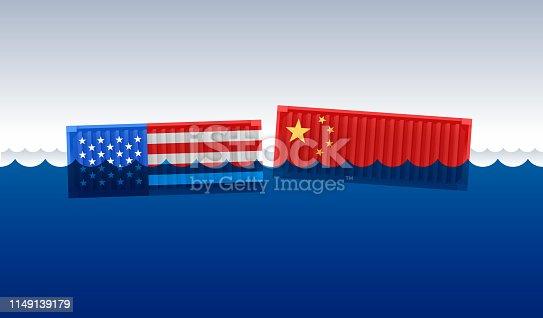 Trade war and tariff dispute between the USA and China.